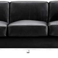 Zuo Fortress Collection Black Leather Sofa - EuroStyleLighting.com