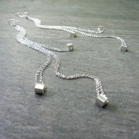 Extra Long Chain Earrings Sterling Silver Geometric Cubes High Fashion Jewelry Super Cool Extremely Sexy 5 Inch Length