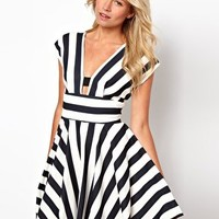 Love Stripe Dress With Cut Out Back at asos.com