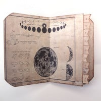 Galaxy Travel Journal, Cosmos Scarpbook, Astronomy Journal, Science Memory Book, Moon Phases Diary, Vintage Travel Keepsake, MADE TO ORDER