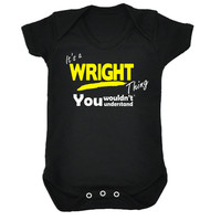 123t USA Baby It's A Wright Thing You Wouldn't Understand Funny Babygrow