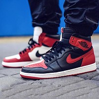 Air Jordan 1 Black And White Red Splicing High-top Shoes