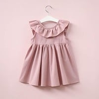 Baby Girls Dress Brand Summer Beach Style Solid Ruffles Party Backless Dresses For Girls Vintage Toddler Girl Clothing
