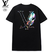 LV Summer New Fashion Reflective Letter Print Women Men Top T-Shirt Black