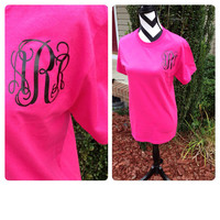 Monogram Vinyl T-Shirt Custom Personalized Tee Shirt Monogrammed Short Sleeve T-Shirt Monogram Gifts or Perfect for Brides and Bridesmaids