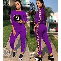 FENDI Fashionable Women Sequins Long Sleeve Top Pants Set Two-Piece Purple