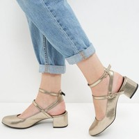 Wide Fit Gold Patent Double Strap Sling Back Pumps
