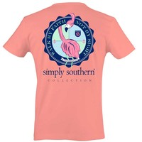 Simply Southern Preppy Collection Flamingo T-shirt for Women in Melon PRPFAITH-MELON