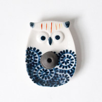 Ceramic Incense Burner Blue Arabesque Owl