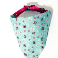 Spearmint Snowflake Christmas Winter Holiday Monogrammed/Personalized Slip On Dog Puppy Over Collar Bandana Neckerchief Fashion Accessory