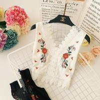 Summer Ladies Blending Bohemian Holiday Embroidery Flowers Sexy Low Cut Lacework Edge Slim Tank Vest Women Sleeveless Top Shirts