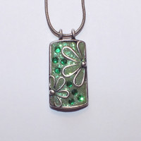 Unique Green Crystal Clay in Rectangle Flower Metal Work Embelished with Green Swarovski Crystals