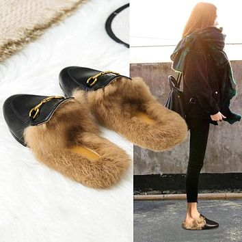 Furry Slippers Women Wear Autumn and Winter Muller Shoes 2020 New Style Lazy Shoes Flat Rabbit Fur Baotou Half Slippers|Slippers