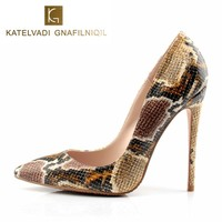 Shoes Woman Snake Printed Women Shoes Sexy 12CM High Heels Pumps Pointed Ladies Party Wedding Shoes Women Pumps Stilettos K-037