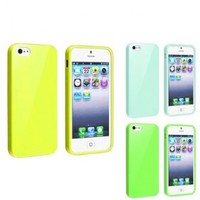 iPhone 5s Case, Sosam 3 Pack Bundle of Clear Jelly Colorful Soft TPU GEL Protective Case Covers (Green , Yellow, Mint Green) for Apple iPhone 5 / 5s