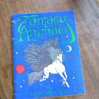 Trippy Vintage '80s Fantasy Animals by Cathee Van Rossem-St. Clair; Rare Indie/Small Press Oversized Fantasy Coloring Book; New Age Animals