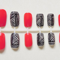 Coral and Black and White Stripe Patterned Handpainted False Nail Set