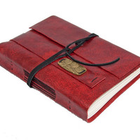 Red Leather Journal with Owl Bookmark