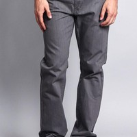 Men's Straight Fit Colored Denim Jeans (Charcoal)