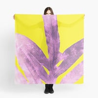 'Green Fern on Bright Yellow Inverted' Scarf by ANoelleJay