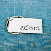 Adopt - Animal Rescue - Dog Rescue - Cat Rescue - Aluminum Key Chain