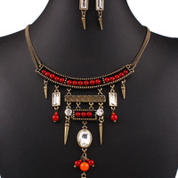 Multicolor Bead Rhinestone Bullet Necklace And Earrings Set