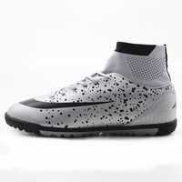 Maultby Men's Black Slivery High Ankle Turf Sole  Indoor Cleats Football Boots Shoes Soccer Cleats #08H