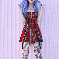 Goth Punk Style Suspender Dresses Women Ribbon Zipper Red Plaid Sleeveless Strap A-Line Girl Lolita Dresses Vestidos Outfit