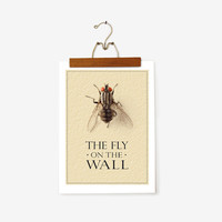NEW: The Fly on the Wall Poster 12x16.5'' Gift for him, Insect / Bug, Halloween Office Print, Home decor