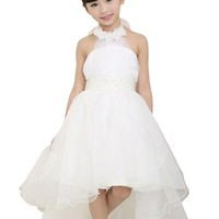 jeansian Girls Tee Dress White Pearl Belt Long Trailing Gown CH015