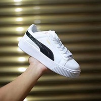 Puma New Casual Men's and Women's Shoes New Patent Leather Open Laughing Canvas Shoes White Shoes Platform Shoes