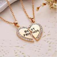 Women Gifts 2 Color Fashion Women Jewelry  New Charming Splice Heart Pendant Best Friend Letter Necklace