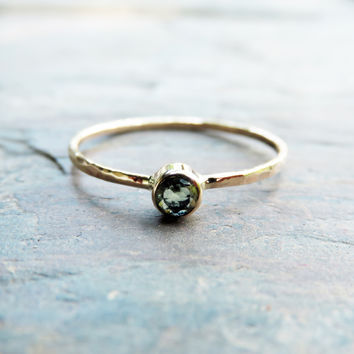Tiny Natural Peridot Ring in Solid Yellow or White Gold: August Birthstone Mother's Ring