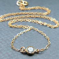 Extra Tiny Cubic Zirconia Diamond Necklace, gold Whisper Chain