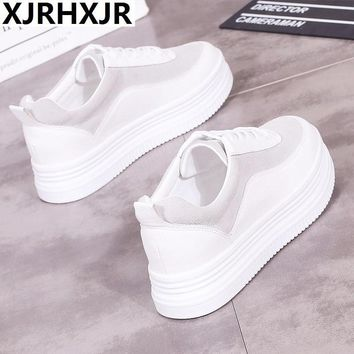 XJRHXJR 2018 Autumn Sneakers Women Casual Shoes Lace Up Suede Leather Flats Shoes Woman Oxfords Platform Creepers Boat Shoes