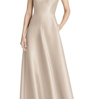 Alfred Sung Strappy Sateen A-Line Gown | Nordstrom