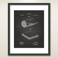 Toilet Paper 1917 Patent Art Illustration - Drawing - Printable INSTANT DOWNLOAD - Get 5 Colors Background
