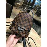 LV Louis Vuitton Trending Women Casual Cute Mini Daypack School Bag Coffee Plaid Leather Backpack I-AGG-CZDL