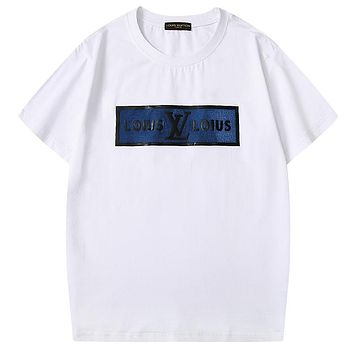 LV New fashion letter print couple top t-shirt White