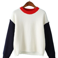 White Color Block Drop Shoulder Fluffy Sweater