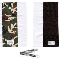 Baby Laundry 92105 Camo & Brown Swirl 2-Pk Minky Burp Cloths with Pacifier Clip