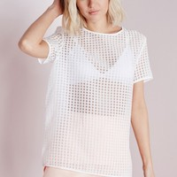 Missguided - Gingham Shell Top White