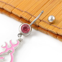 Fashion Charm Crystal Diamond Button Shape Dangle Browning Deer Belly Navel Ring Body Piercing Jewelry (Size: 4.8 cm)