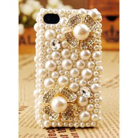 iPhone 5 4S-4G-3GS iPod Touch4G 3D Pearl Flower Back Case - Apple iPhone Cases - Phone Cases