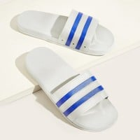 Men Striped Detail Wide Fit Sliders