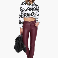 Masala Red Leather Skinny Pants