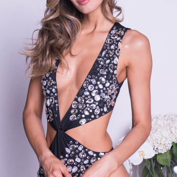 SHOWSTOPPER MONOKINI IN BLACK WITH CRYSTALS