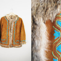 Woostock Fur - Vintage 70s Suede Embroidered Fur Lined Coat Jacket