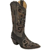 Ladies' Cowboy Boots : Corral Ladies' Cowgirl Boots Black Python With Swarovski Crystals