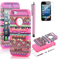 Pandamimi ULAK 3-Piece Hybrid High Impact Case Tribal Pink Silicone for iphone 5 5th + Screen Protector + Stylus